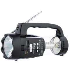Radio Portabil cu 2 x Lanterne Fepe FP-1350U , MP3 player, USB, SD / TF CARD, Acumulator, Negru