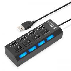 Multiplicator - Hub 4 x USB, Butoane On/Off Individuale, Alimentare USB, Negru