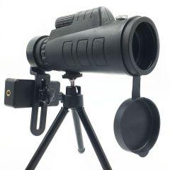 Monocular Panda 35 x 50 mm, Prindere Smartphone, Amplificare 10x, Busola, cu Trepied, Negru