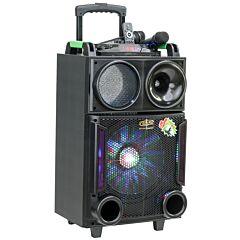 Boxa Activa Portabila Troller 12, Soundvox MT-1705, cu 2 x Microfoane, 150 W, Functie REC, Bluetooth, Display, Fm, Usb, Sd, Aux, Lumini, Telecomanda, Negru