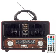 Radio cu MP3 Player si Bluetooth Meier M-U111, FM/AM/SW3, USB, SD/ TF CARD, Telecomanda, Maro-Negru