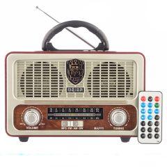 Radio cu MP3 Player si Bluetooth Meier M-U111, FM/AM/SW3, USB, SD/ TF CARD, Telecomanda, Maro-Gri