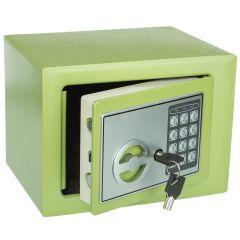 Seif Metalic cu Cifru Electronic si Cheie 17E-G, Casa de Bani, Cutie de Valori, 230x170x170 mm, Verde