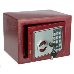 Seif Metalic cu Cifru Electronic si Cheie 17E-R, Casa de Bani, Cutie de Valori, 230x170x170 mm, Rosu
