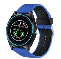 "Smartwatch SmartLife V9 , Step Counter ,Sleep monitor, Rest reminder, Camera, Display 1.22"", Bluetooth, Curea Silicon, Albastru"