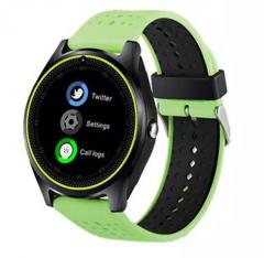 "Smartwatch SmartLife V9 , Step Counter ,Sleep monitor, Rest reminder, Camera, Display 1.22"", Bluetooth, Curea Silicon, Verde"