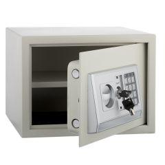 Seif Metalic cu Cifru Electronic si Cheie, pentru Acte, Casa de Bani, Cutie de Valori, 350x250x250 mm, Crem
