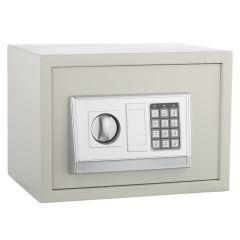 Seif Metalic cu Cifru Electronic si Cheie 30E, pentru Acte, Casa de Bani, Cutie de Valori, 380x300x300 mm, Crem