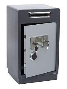 Seif Metalic cu Fanta pentru Bani sau Documente D1-63, cu Roti, Cifru Electronic si Cheie, pentru Acte, Casa de Bani, Cutie de Valori, 700x420x380 mm, Gri
