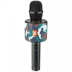 Microfon Karaoke Wireless cu Bluetooth, Soundvox V8 cu Boxa inclusa, Reglaze de Sunet, Army