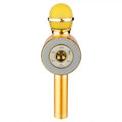 Microfon Karaoke Wireless cu Bluetooth, Soundvox WS-668 cu Boxa inclusa, Joc de Lumini si Reglaje pentru Sunet, Auriu