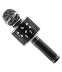 Microfon Karaoke Wireless cu Bluetooth, Soundvox WS-858 cu Boxa inclusa, Negru
