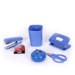 Set birou  (pahar,foarfeca 17 cm, capsator 10#,perforator, 2 cutii capse 10#, suport magnetic pentru agrafe)