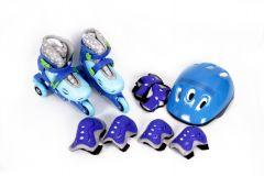 MAXTAR Set role, casca, cotiere, genunchiere si protectii incheieturi albastru marime  26-29 COMBO