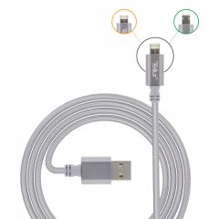 Cablu de date 2 in 1Tellur USB reversibil - microUSB & lightning 1m, argintiu