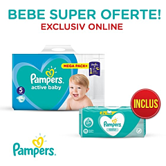 Pachet promo Pampers Scutece Active Baby Marimea 5, 11 -16 kg, 110 buc + Servetele umede Sensitive, 104 buc