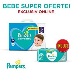 Pachet promo Pampers Scutece Active Baby Mega Box, Marimea 6, 13 -18 kg, 96 buc + Servetele umede Sensitive, 104 buc
