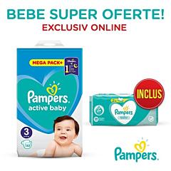 Pachet promo Pampers Scutece Active Baby Mega Box, Marimea 3, 6 -10 kg, 152 buc + Servetele umede Sensitive 2 x 52, 104 buc