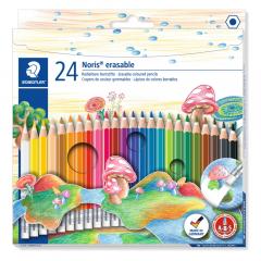 Creioane colorate cu guma, set 24 bucatii, Staedtler