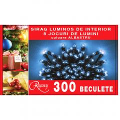 Instalatie tip sirag 300 mini beculete, 8 jocuri de lumini, albastru