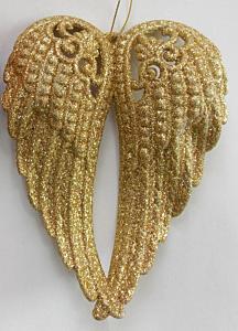 Ornament aripi de inger cu sclipici, auriu