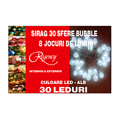 Sir 30 leduri tip bubble, alb