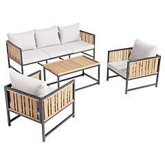 Set mobilier Louga, 4 piese, lemn de eucalipt si aluminiu, Bej