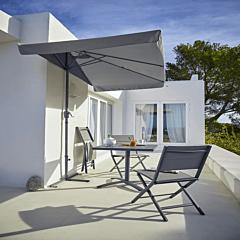 Umbrela balcon cu aerisire, aluminiu si otel, 230x130 cm, Gri