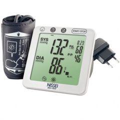 Tensiometru electronic de brat Nissei DSK-1031, Memorare 60 de seturi, Afisaj LCD, Manseta 22-42 cm, detectie aritmie si body motion , WHO, functie cea, Alimentator inclus, Alb