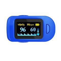 Pulsoximetru, RedLine FS20C, Albastru/Alb, Indica nivelul de saturatie a oxigenului din sange, Masoara rata pulsului, Avertizare sonora, 4 pozitii de citire a textului