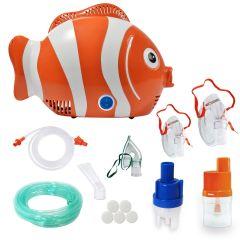 Aparat aerosoli RedLine Healthy Fish PRO, nebulizator cu compresor, MMAD 2.44 μm, 3 ani garantie, Design prietenos pentru copii