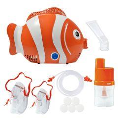 Aparat aerosoli, nebulizator cu compresor RedLine Healthy Fish, MMAD 2.44 μm, 3 ani garantie, Design prietenos pentru copii