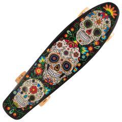 Penny Board cu roti luminoase portocalii 22'', ABEC-7, PU, Aluminium, 90 KG Santa Muerte