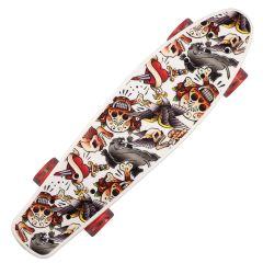 Penny Board Landsurfer cu roti luminoase, 56 cm, ABEC-7, PU, Aluminium, 90 KG Happy Skull
