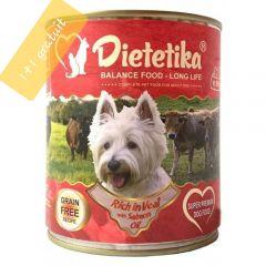 Hrana umeda pentru caini, Dietetika Vitel, 400 gr, 1+1 gratuit