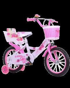 Bicicleta fetite alb cu roz 18 inch cu ursulet plus, pentru copii cu varsta intre 5-8 ani, cu roti ajutatoare, cosulet jucarii