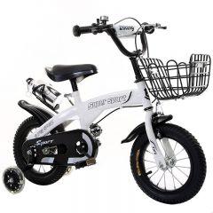 Bicicleta sport 18 inch alba pentru copii cu varsta intre 5-8 ani, cu roti ajutatoare, cosulet jucarii, bidon apa