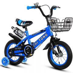 """Bicicleta Sport 16""""albastra cu pedale pentru baieti,roti ajutatoare din silicon,aparatoare noroi,suport si bidon apa,sonerie,cosulet metalic pentru jucarii"""