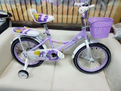 """Bicicleta mov desene zane 14"""" cu pedale pentru copii,roti ajutatoare ,aparatoare noroi,portbagaj si sonerie"""