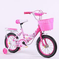 Bicicleta de fetita 16 inch pentru copii cu varsta inte 4- 8 ani cu pedale ,portbagaj,sonerie,roti ajutatoare,cos jucarii,culoare roz