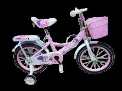 Bicicleta mov cu zane pentru fetita 14 inch cu pedale, pentru copii cu varsta intre 2-5 ani,roti ajutatoare,cos jucarii,portbagaj,aparatori noroi