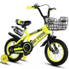 """Bicicleta Sport 16"""" galbena cu pedale pentru copii cu varsta intre 3-7 ani ,roti ajutatoare ,aparatoare noroi,suport si bidon apa"""