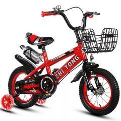 """Bicicleta 16"""" Sport rosie cu pedale pentru copii cu varsta intre 3-7 ani,cu roti ajutatoare din silicon,cosulet metalic,sonerie suport si bidon apa"""