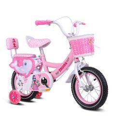 Bicicleta de fetita 16 inch pentru copii cu varsta inte 4-7 ani cu pedale ,portbagaj,sonerie,roti ajutatoare,cos jucarii,culoare roz