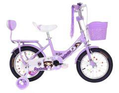 Bicicleta Antule mov 16 inch pentru copii cu varsta inte 4- 7ani cu pedale ,portbagaj cu spatar,sonerie,roti ajutatoare,cos jucarii