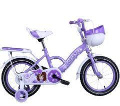 Bicicleta jgbaby mov 16 inch pentru copii cu varsta inte 4- 7 ani cu pedale ,portbagaj,sonerie,roti ajutatoare,cos jucarii