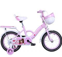 Bicicleta jgbaby roz 16 inch pentru copii cu varsta inte 4- 7 ani cu pedale ,portbagaj,sonerie,roti ajutatoare,cos jucarii