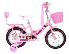 Bicicleta Antule roz 16 inch pentru copii cu varsta inte 4-7 ani cu pedale ,portbagaj cu spatar,sonerie,roti ajutatoare,cos jucarii