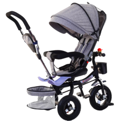 Tricicleta multifunctionala copii cu scaun reversibil 10 luni -5 ani,roti cauciuc ,cos cumparaturi,gentuta,sonerie,culoare gri