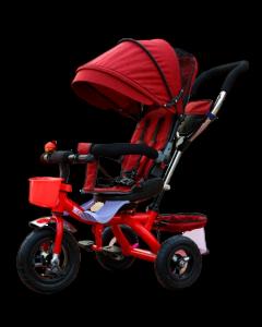 Tricicleta multifunctionala copii cu scaun reversibil 9 luni -4 ani,roti cauciuc,cos cumparaturi,gentuta,sonerie,cosulet,culoare visiniu